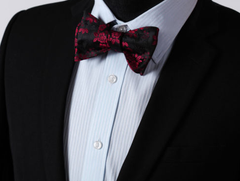 Self Tie Burgundy Red & Black Floral Bow Tie
