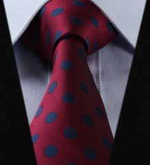 Burgundy Wine & Navy Blue Polka Dot Tie