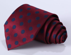 Dark Red & Navy Polka Dot Tie