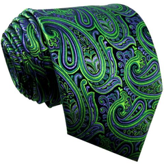 Green & Lilac Paisley Tie
