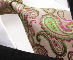 soft pink tie with green & pink paisley