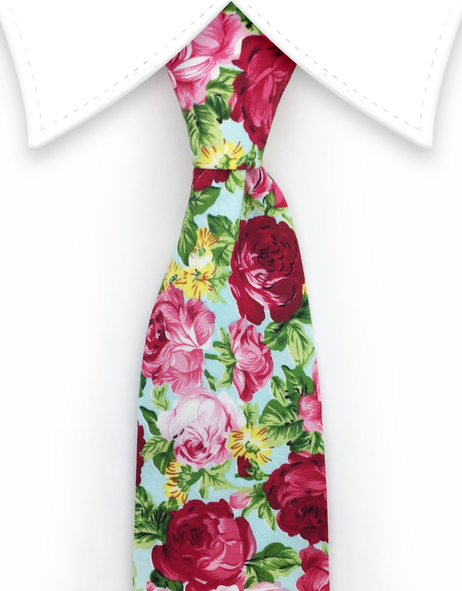 Seafoam green floral tie with pink roses