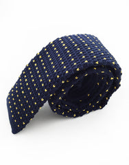 Navy blue and yellow specks knit tie - side view