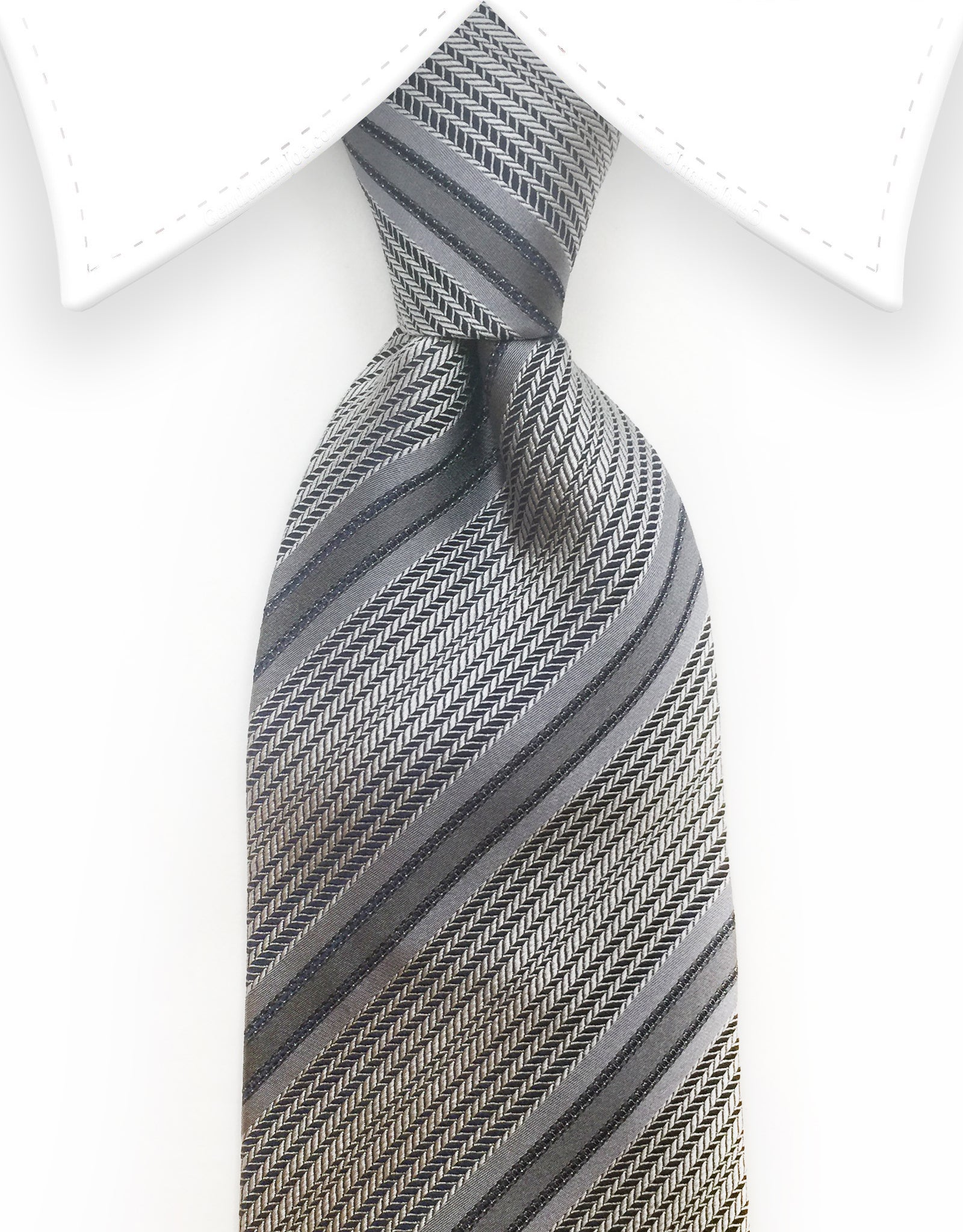 Silver and charcoal striped tie