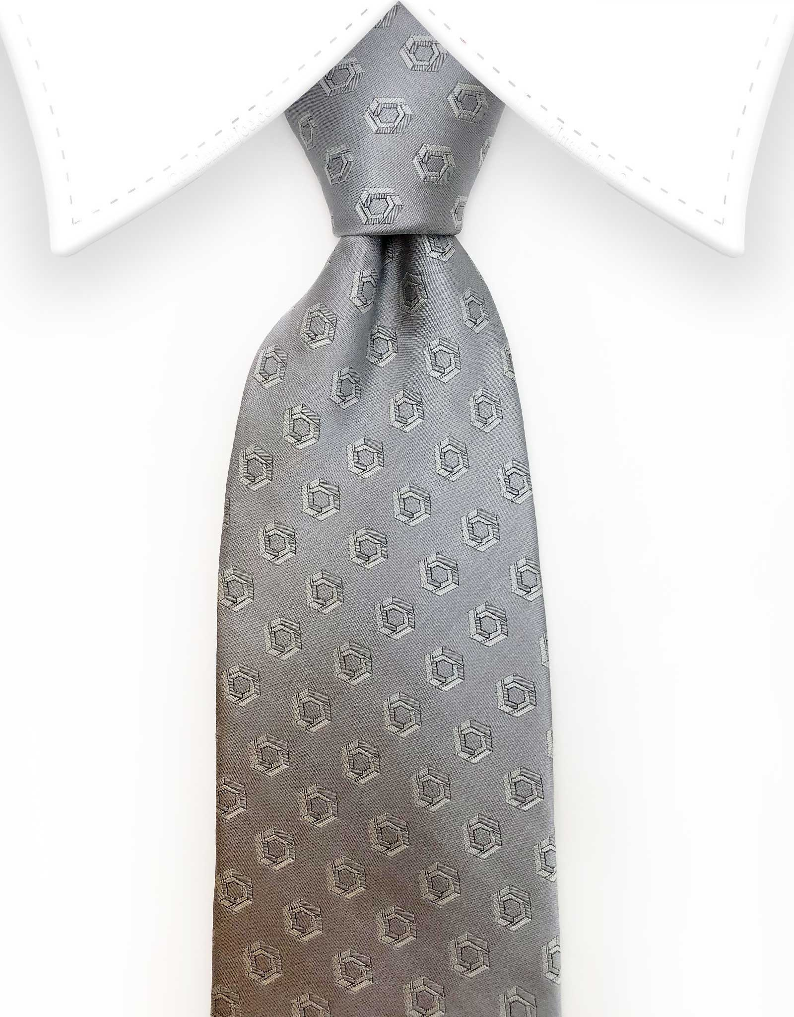 silver tie with design