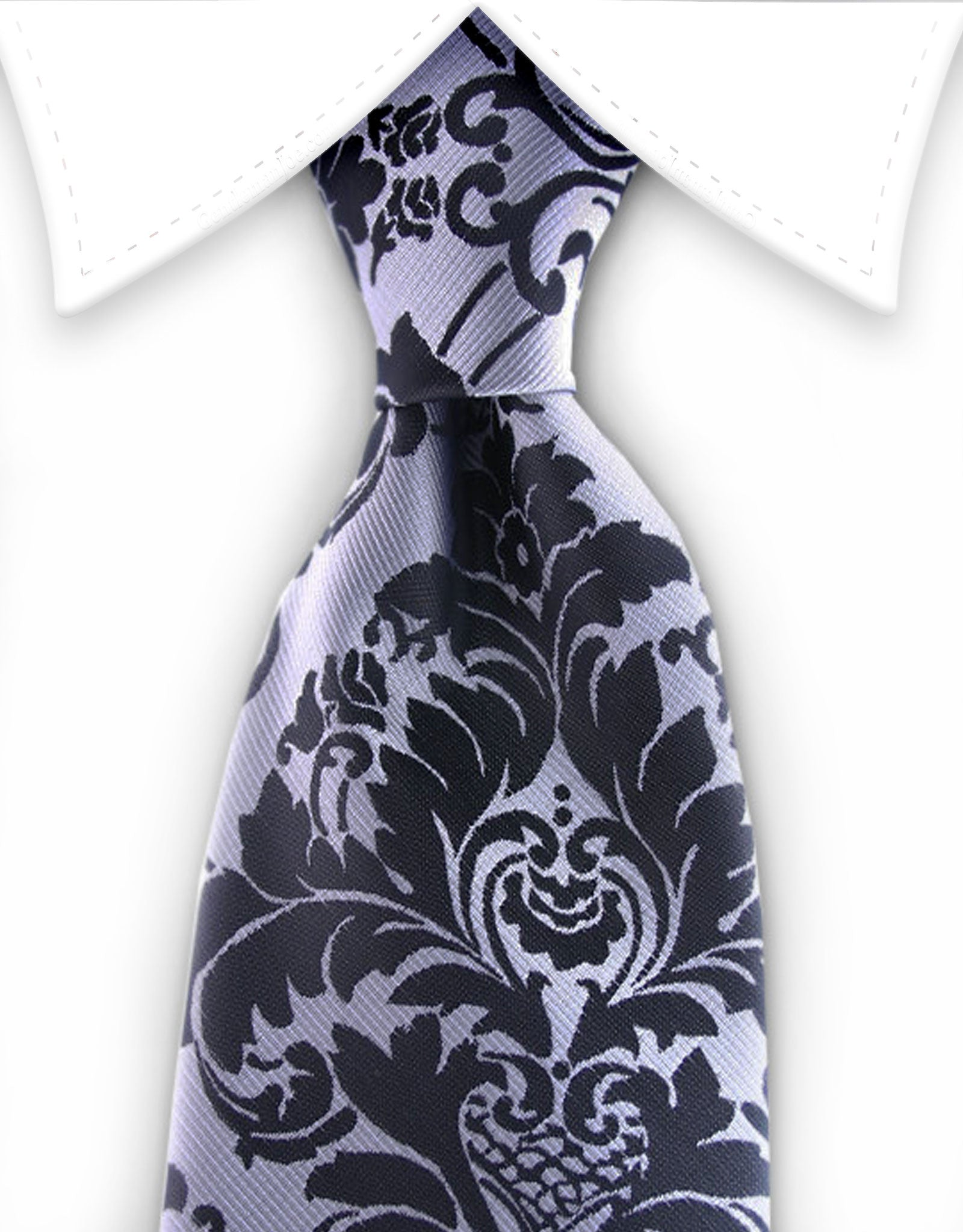 Silver & black tie with vintage floral design