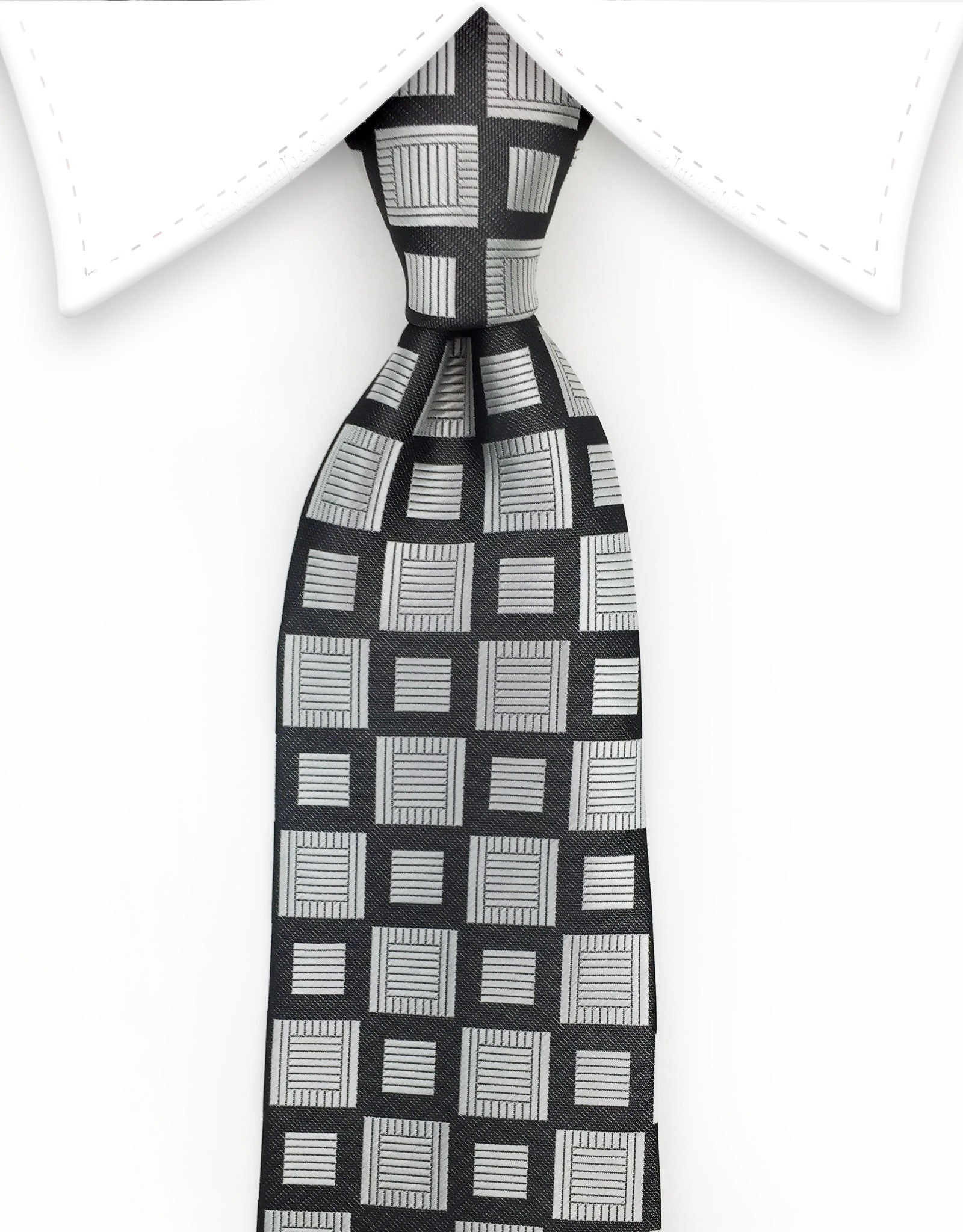 Silver Black Tie with Squares