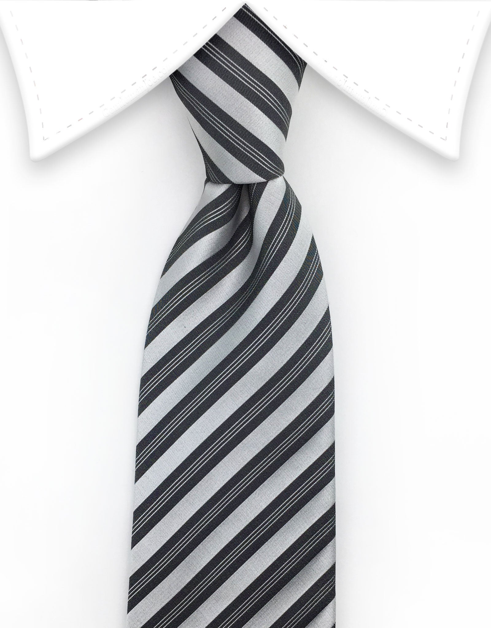 Silver Charcoal Striped Necktie