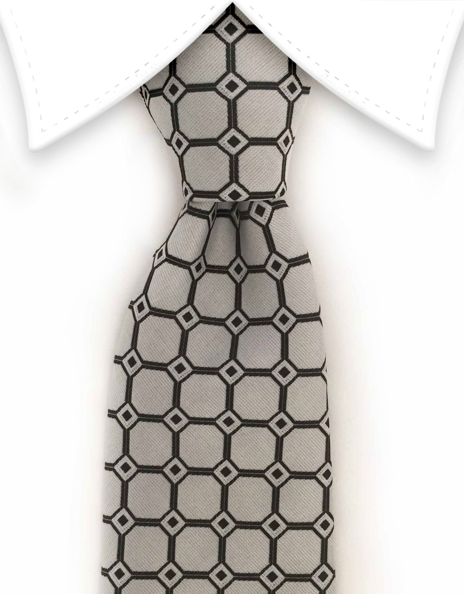 Silver Tie with black squares