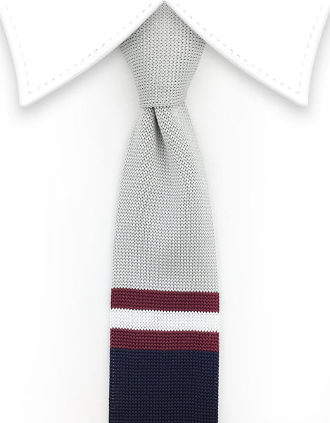 Silver, Navy & Burgundy Striped Knit Tie