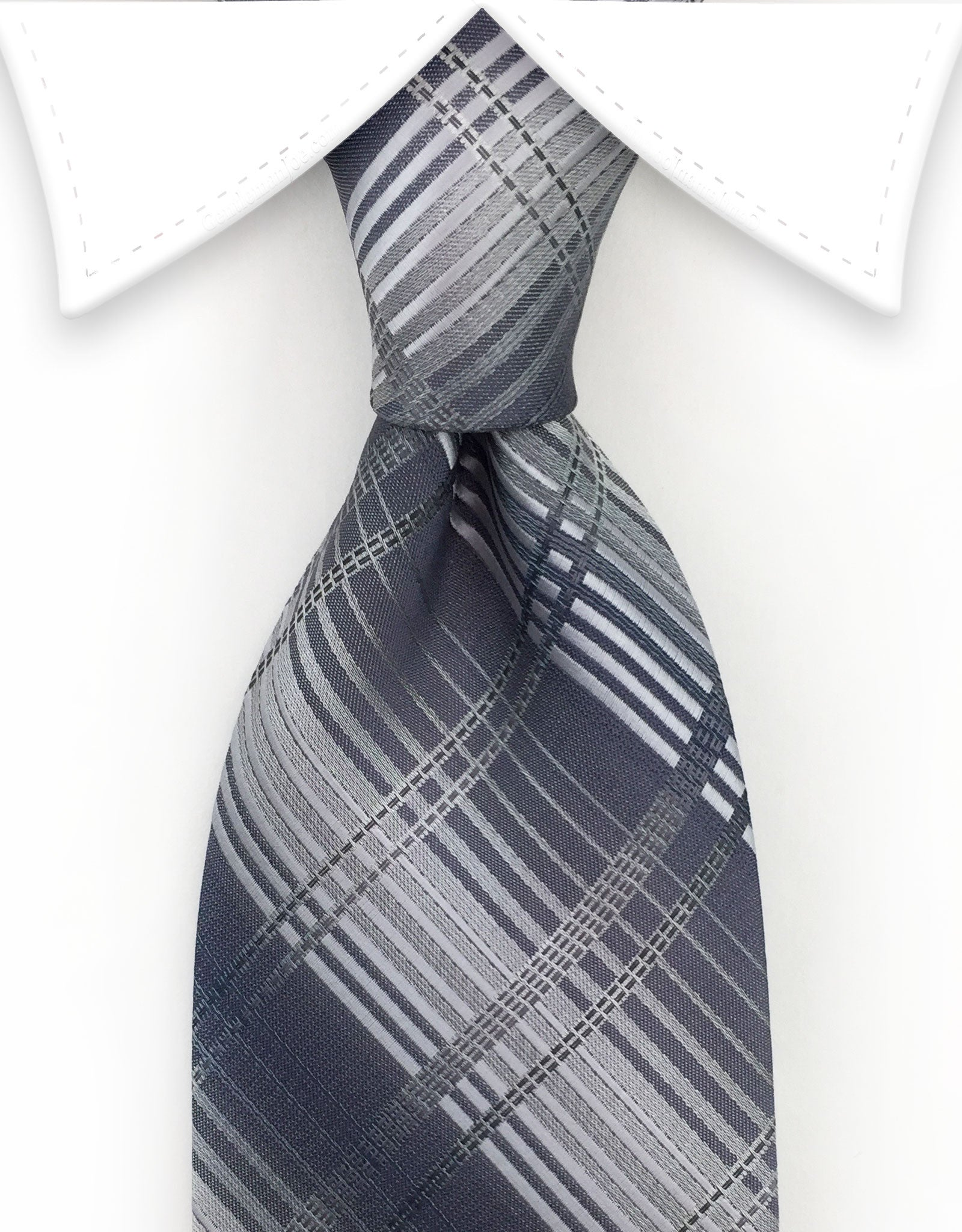 Silver Gray Plaid Tie