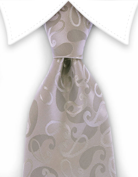 silver and gray paisley tie
