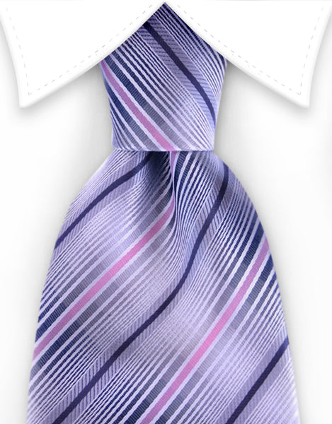 gray, silver, black, pink striped tie