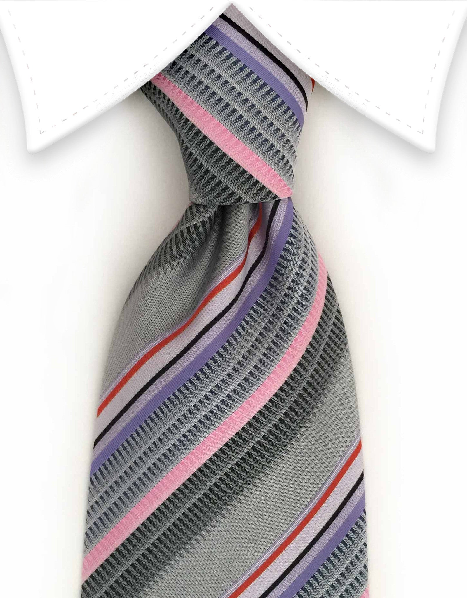 silver, pink, purple striped tie