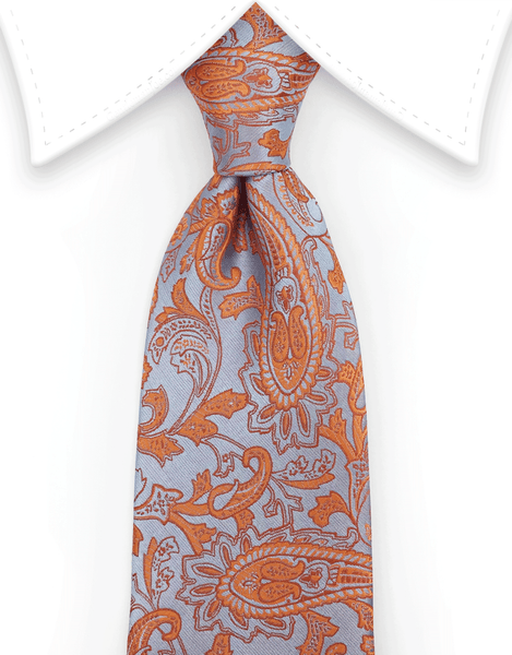 Orange and silver paisley tie