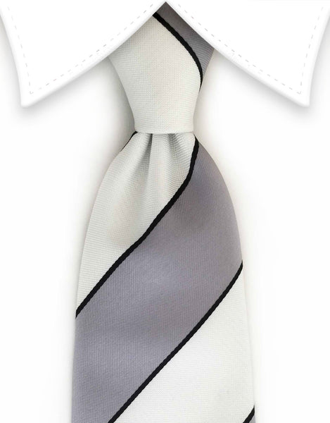 Gray and white striped tie