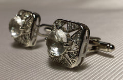 silver cufflinks with clear crystal