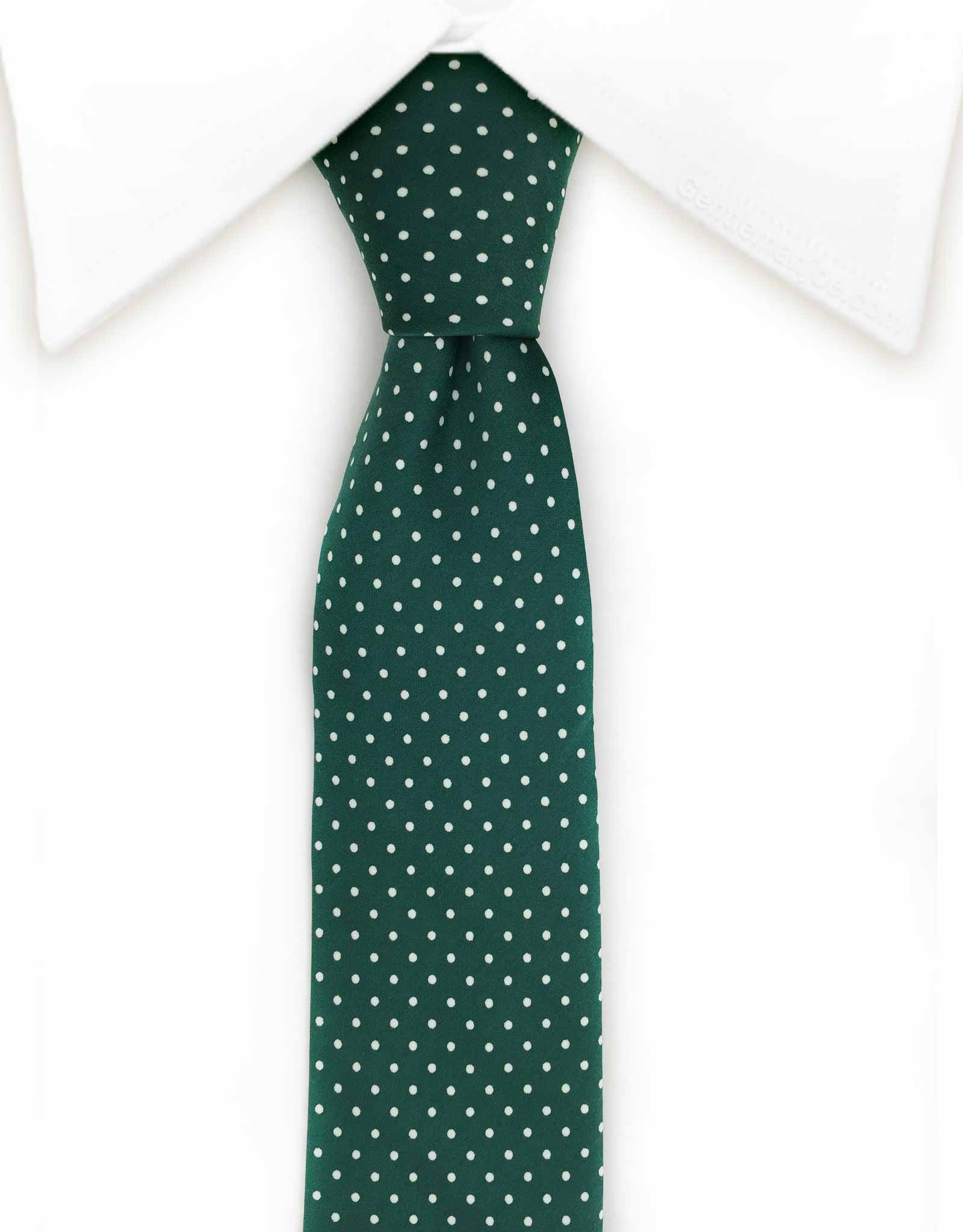 green skinny necktie with white micro dots
