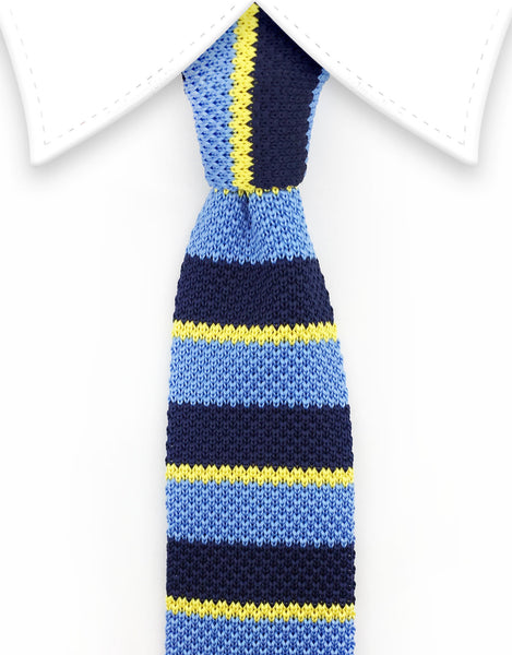 blue and yellow knitted tie