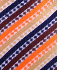 Orange, Navy & Gold Striped Tie - Pocket Square Included