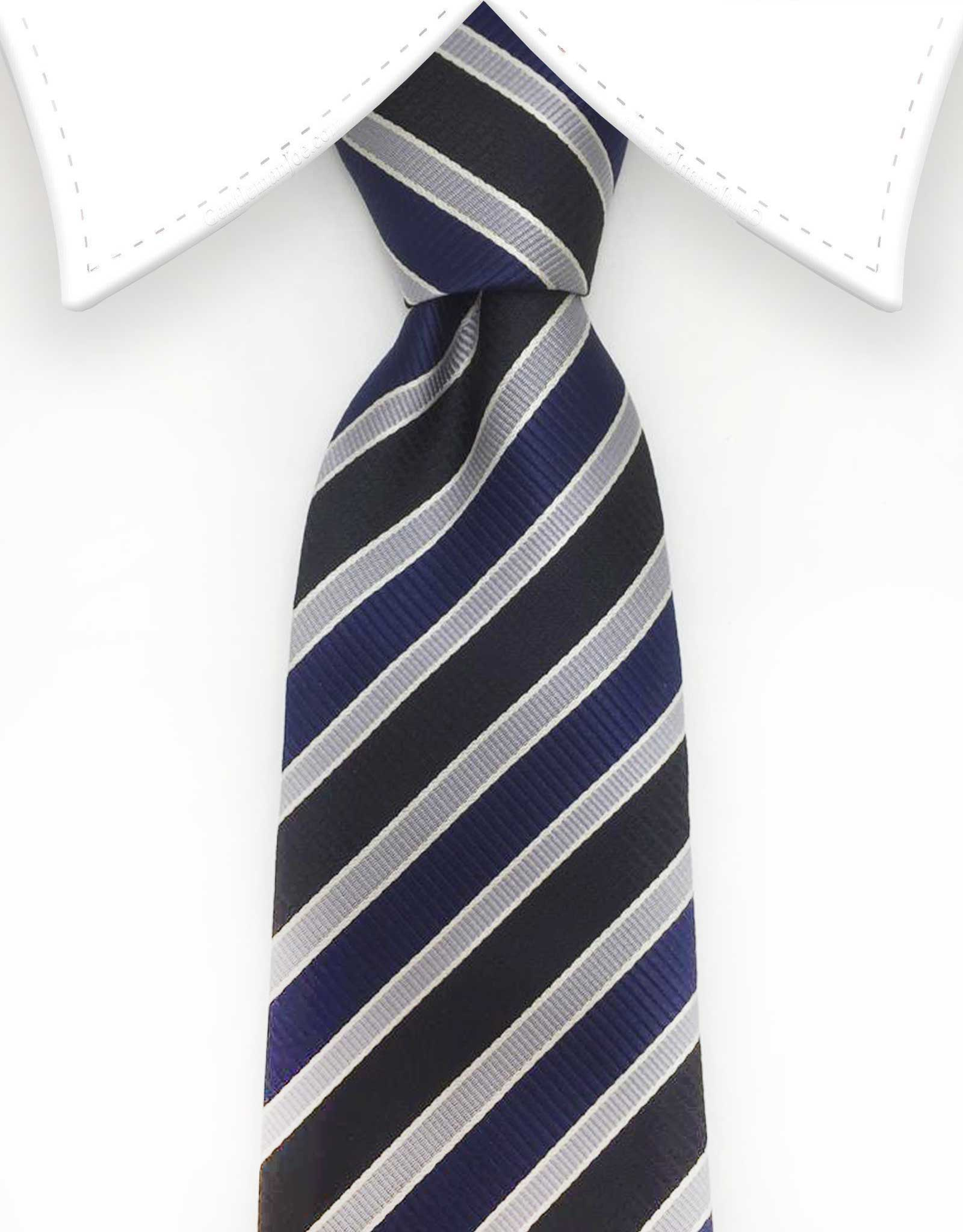 navy blue silver extra long tie