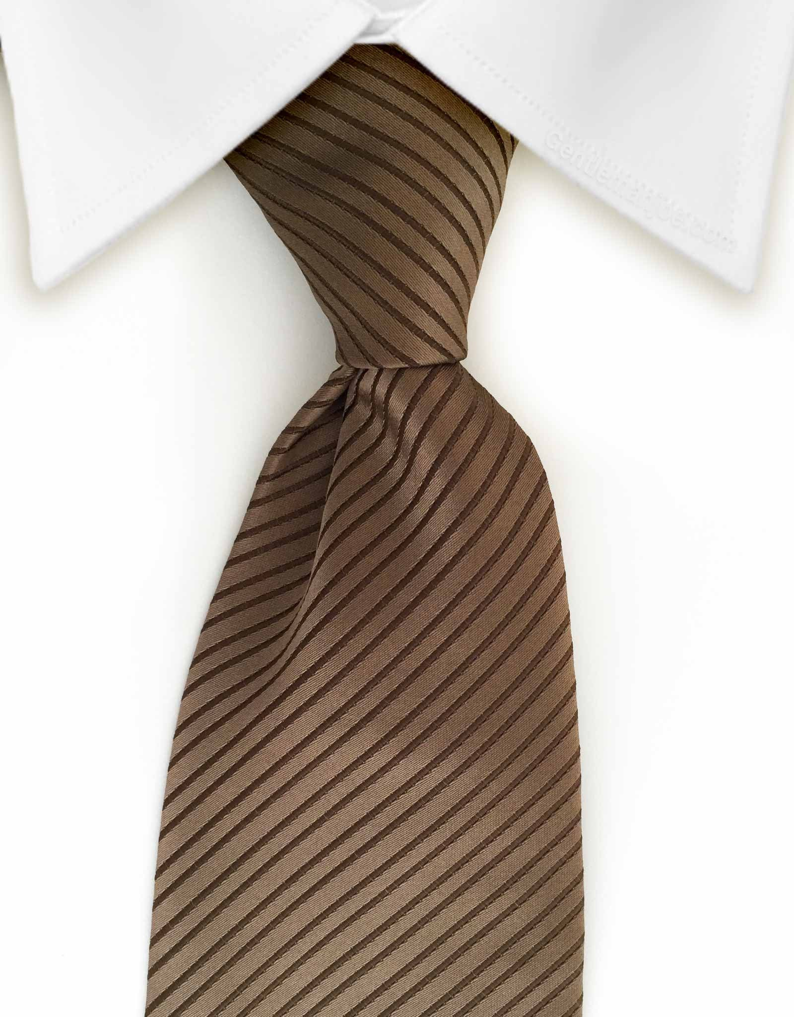 solid brown striped tie