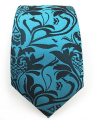 turquoise floral big and tall tie