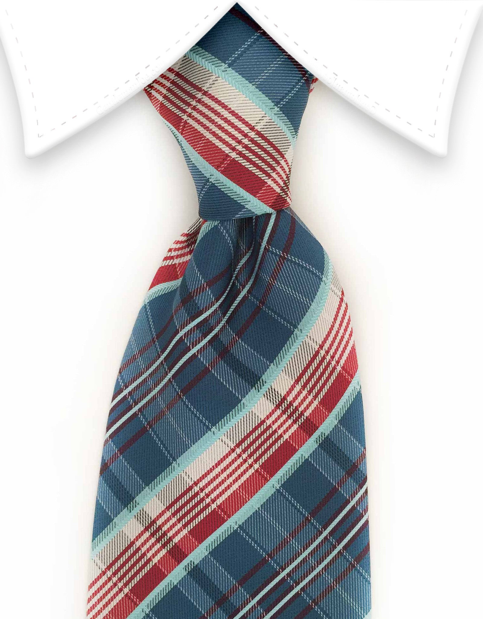 teal and red plaid tie