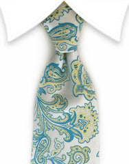 Soft teal & pale yellow floral tie