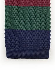 tip of navy, green, burgundy knitted tie
