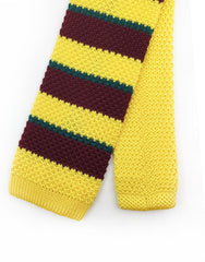 yellow & burgundy skinny knit tie