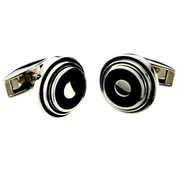 round black and titanium cuff links