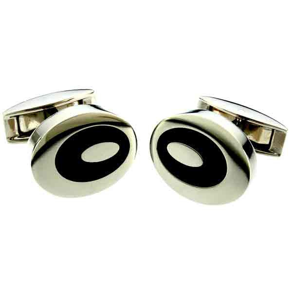 oval titanium and black cuff links