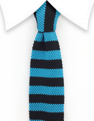 turquoise black knitted tie