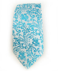 turquoise blue floral tie