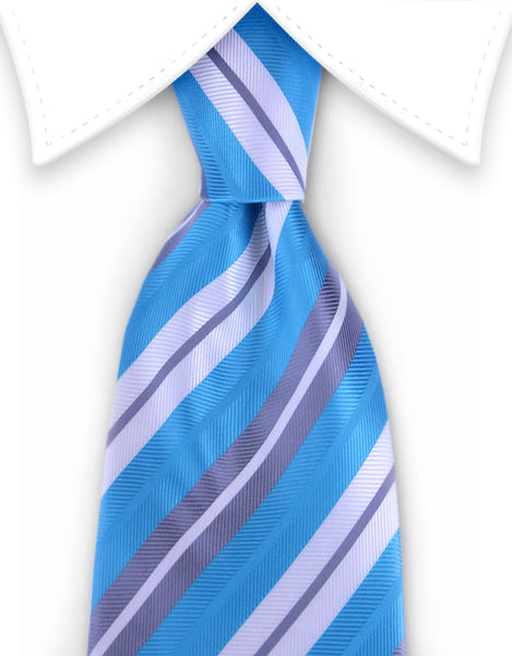 aqua, silver & white striped tie