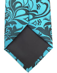teal and black floral tip of long tie