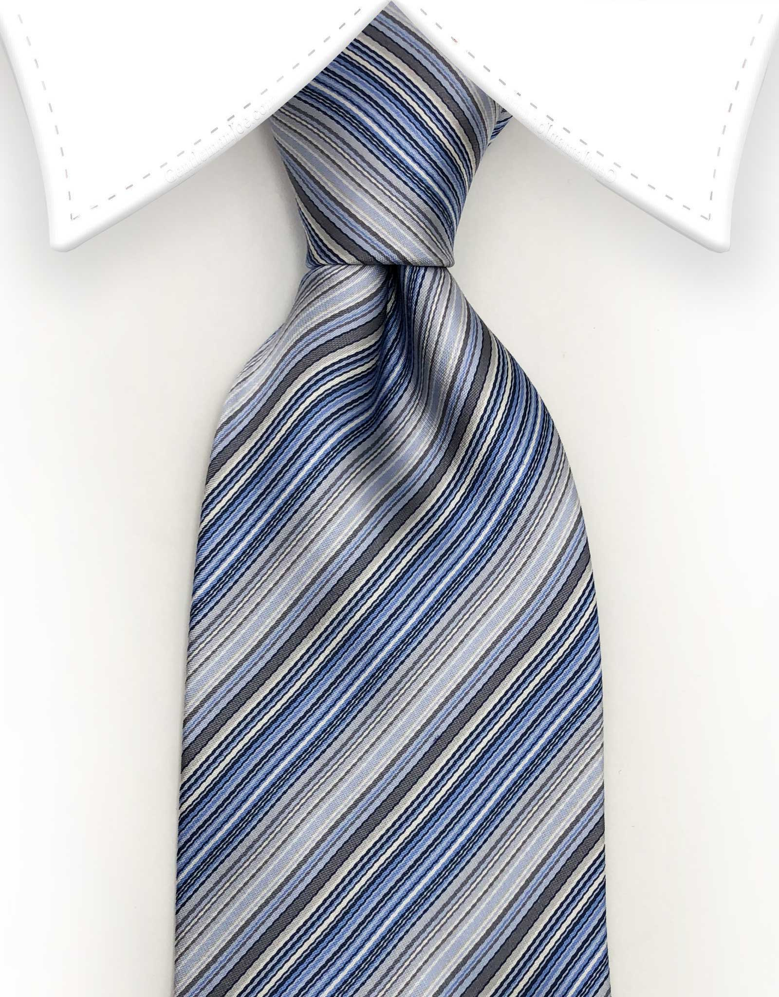 light blue silver charcoal striped tie