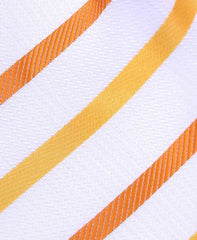 White & Orange Striped Extra Long Tie