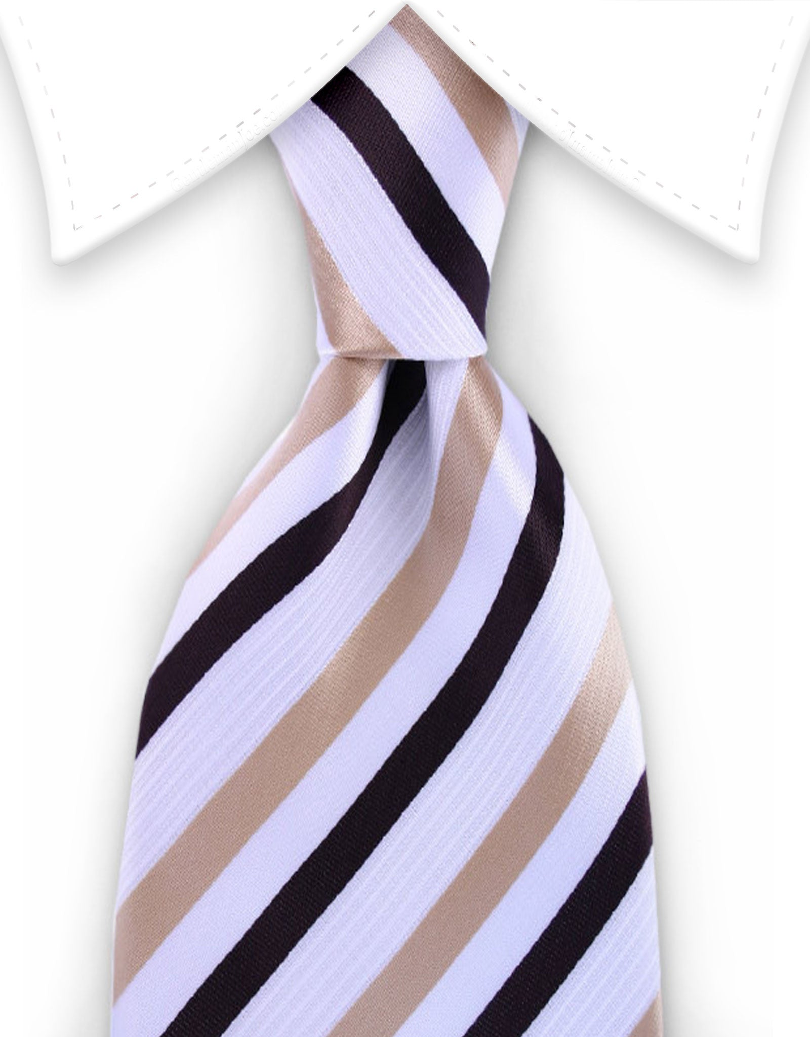 Light and Dark Brown Striped Tie on White