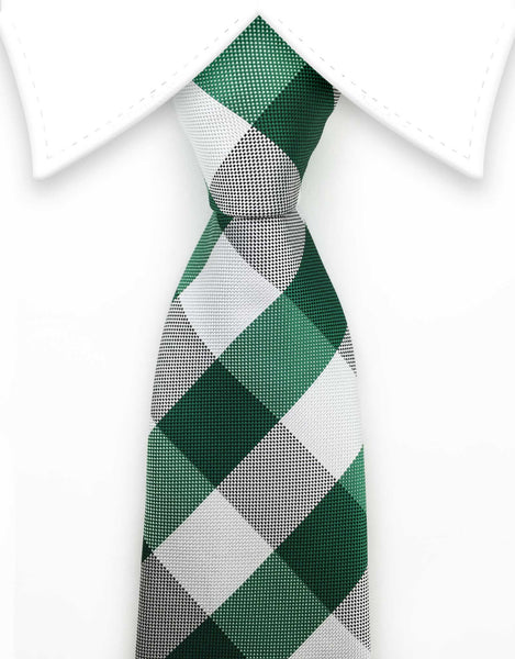 White & Green Checkered Extra Long Tie