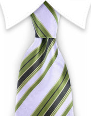 khaki green white striped mens tie