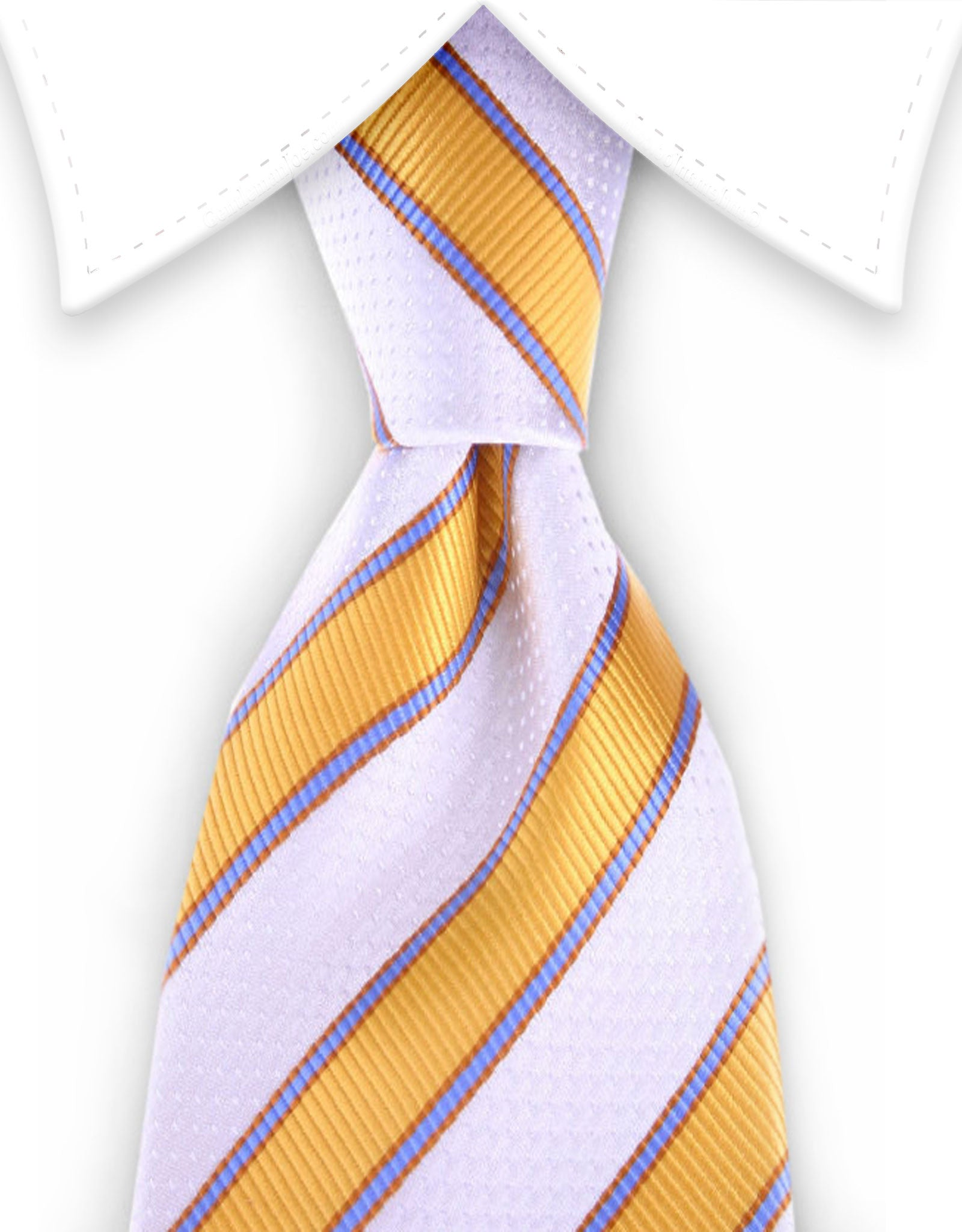Apricot and white striped men's tie