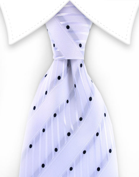 White & Black Polka Dot Tie