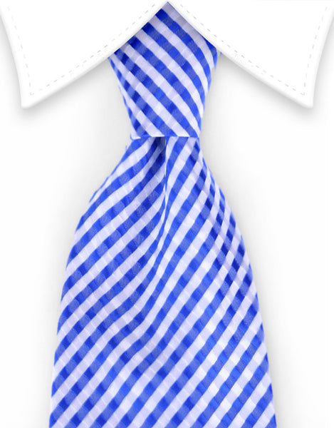 Blue and White Extra Long Tie