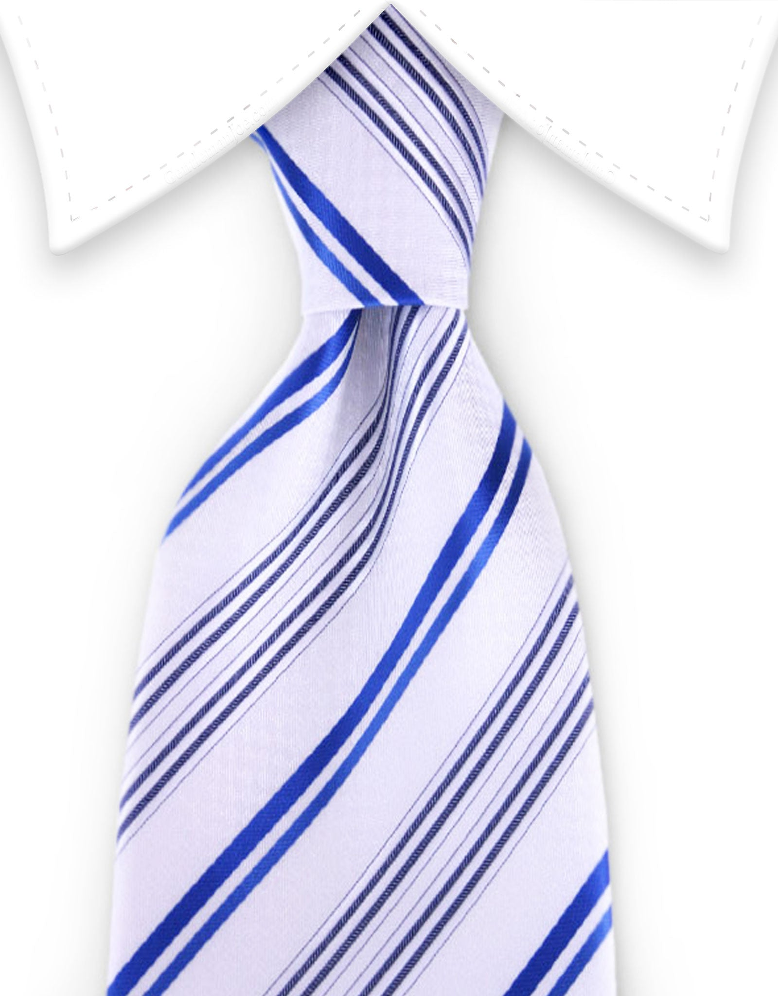 White & Blue Striped Tie