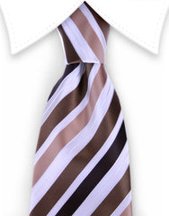 brown and white striped tie