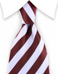 Cappucino and white striped extra long tie