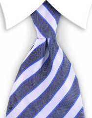 white, black and blue necktie