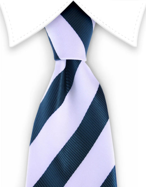 dark green and white striped necktie